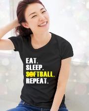 Eat Sleep Softball Repeat  Ladies T-Shirt lifestyle-holiday-womenscrewneck-front-1