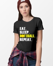 Eat Sleep Softball Repeat  Ladies T-Shirt lifestyle-women-crewneck-front-9
