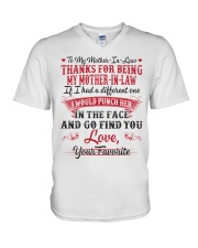 THANKS FOR BEING MY MOTHER-IN-LAW V-Neck T-Shirt thumbnail