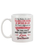 THANKS FOR BEING MY MOTHER-IN-LAW Mug back