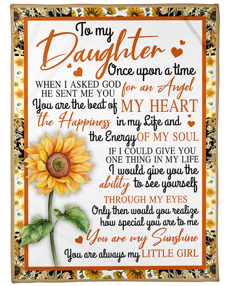 "To My Daughter Sunflower BFG-BLK309 Large Fleece Blanket - 60"" x 80"""