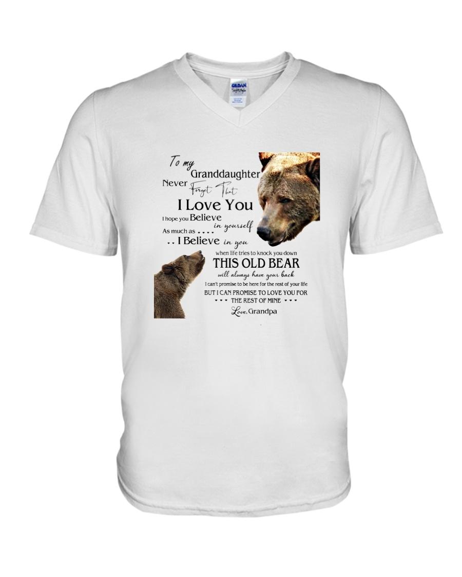 1 DAY LEFT - TO MY GRANDDAUGHTER FROM GRANDPA BEAR V-Neck T-Shirt