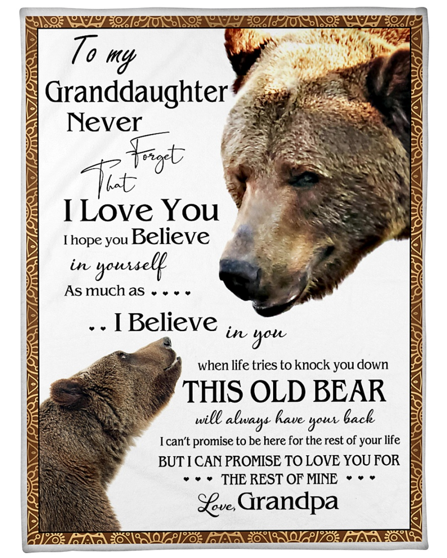 "1 DAY LEFT - TO MY GRANDDAUGHTER FROM GRANDPA BEAR Large Fleece Blanket - 60"" x 80"""