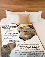 """1 DAY LEFT - TO MY GRANDSON FROM GRANDPA BEARS Large Fleece Blanket - 60"""" x 80"""" aos-coral-fleece-blanket-60x80-lifestyle-front-02"""