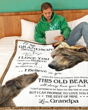 """1 DAY LEFT - TO MY GRANDSON FROM GRANDPA BEARS Large Fleece Blanket - 60"""" x 80"""" aos-coral-fleece-blanket-60x80-lifestyle-front-06"""
