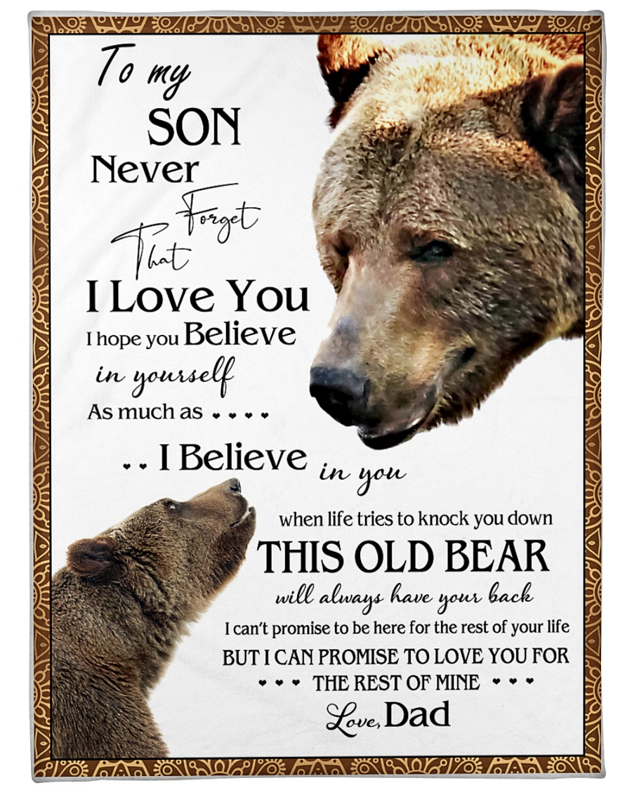 """1 DAY LEFT - TO SON FROM DAD BEARS Large Fleece Blanket - 60"""" x 80"""""""