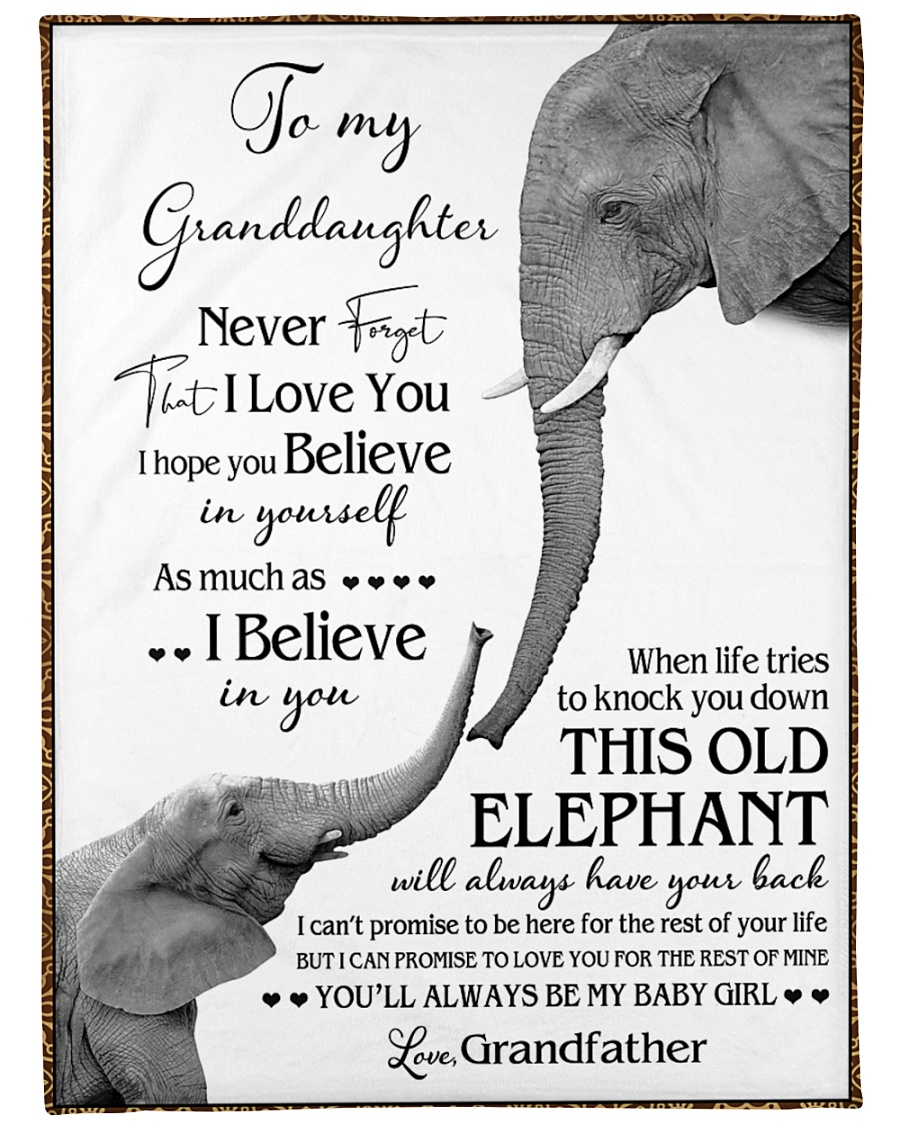 """1 DAY LEFT - TO MY GRANDDAUGHTER ELEPHENTS Large Fleece Blanket - 60"""" x 80"""""""