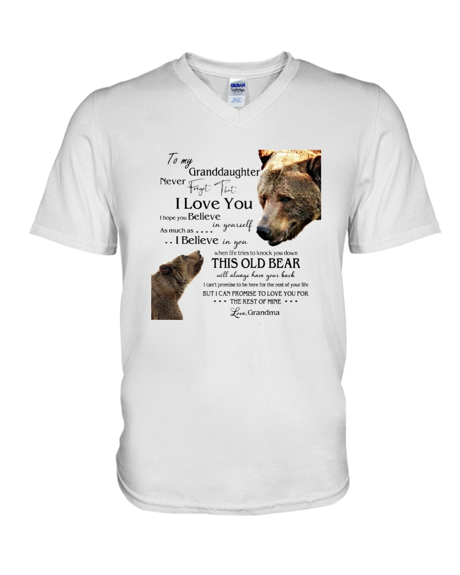 1 DAY LEFT - TO MY GRANDDAUGHTER FROM GRANDMA BEAR V-Neck T-Shirt