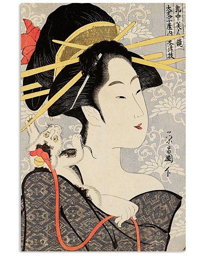 Japanese Geisha Woodcut Print
