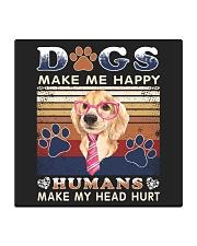 Dogs Make Me Happy Vintage Square Coaster thumbnail