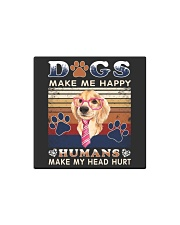 Dogs Make Me Happy Vintage Square Magnet thumbnail