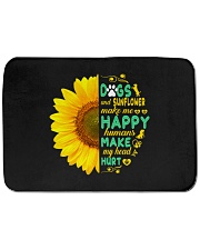 """Dogs And Sunflower Make Me Happy Bath Mat - 24"""" x 17"""" thumbnail"""