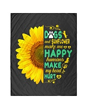 """Dogs And Sunflower Make Me Happy Quilt 40""""x50"""" - Baby thumbnail"""