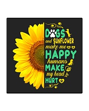 Dogs And Sunflower Make Me Happy Square Coaster thumbnail