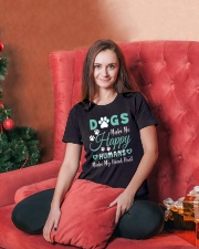Dogs Make Me Happy T Shirt Ladies T-Shirt lifestyle-holiday-womenscrewneck-front-2