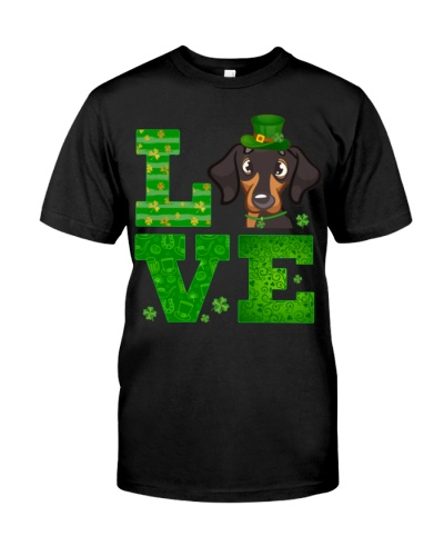 Love Dachshund St Patricks Day Green Shamrock