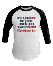 nurse sleep and playing with dog Baseball Tee thumbnail