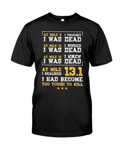 At Mile 13 point 1- marathon running tshirt