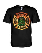 fire christmas tree V-Neck T-Shirt thumbnail