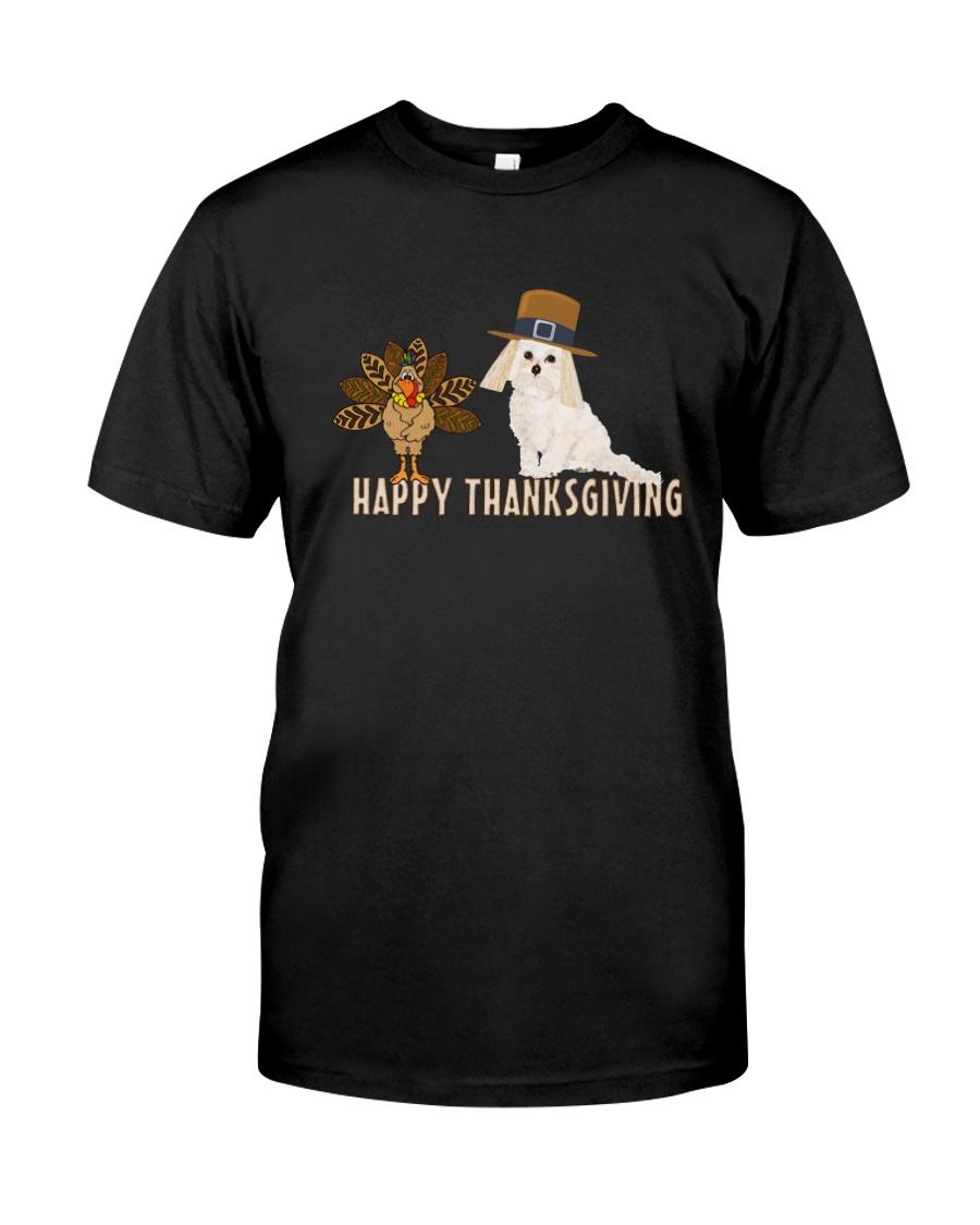 Cockapoo and Turkey Happy Thanksgiving Dark TShir Classic T-Shirt