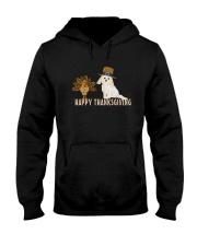 Cockapoo and Turkey Happy Thanksgiving Dark TShir Hooded Sweatshirt thumbnail
