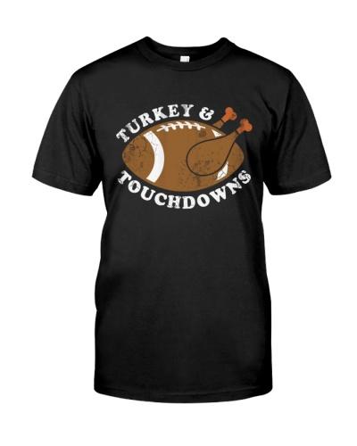 Thanksgiving Turkey and Touchdowns TShirt