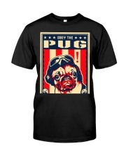 Pug USA Flying Ace Black  Classic T-Shirt front