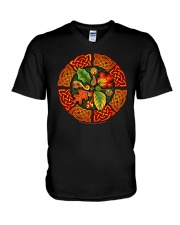 Celtic Autumn Leaves Long Sleeve Dark TShirt V-Neck T-Shirt thumbnail
