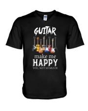 Guitar Makes me happy V-Neck T-Shirt thumbnail