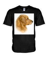 Golden Retriever Portrait Ash Grey  V-Neck T-Shirt thumbnail