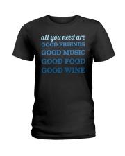 Good Friends Food Wine  Ladies T-Shirt thumbnail