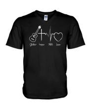 guitar hope faith love V-Neck T-Shirt thumbnail