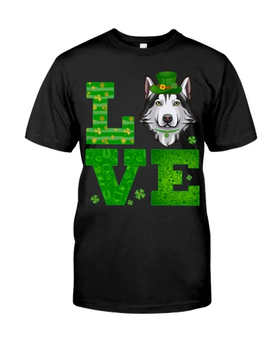 Love Husky St Patricks Day Green Shamrock