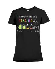 BATTERY LIFE OF A TEACHER Premium Fit Ladies Tee thumbnail