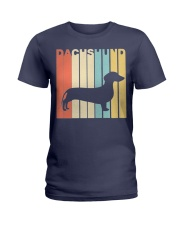 Vintage 1970s Style Dachshund Silhouette Dog Owner Ladies T-Shirt thumbnail