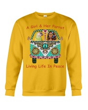 A Girl And Her Senegal Parrot Living Life In Peace Crewneck Sweatshirt thumbnail