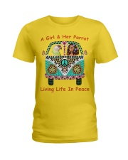 A Girl And Her Senegal Parrot Living Life In Peace Ladies T-Shirt thumbnail