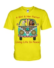A Girl And Her Senegal Parrot Living Life In Peace V-Neck T-Shirt thumbnail