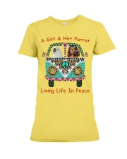 A Girl And Her Cockatoo Living Life In Peace Premium Fit Ladies Tee thumbnail