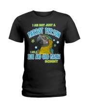 Blue and Gold Macaw Mommy Lover Ladies T-Shirt thumbnail