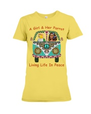 A Girl And Her Caique Living Life In Peace Premium Fit Ladies Tee thumbnail