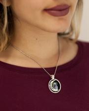 African Grey Test  Metallic Circle Necklace aos-necklace-circle-metallic-lifestyle-1