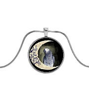 African Grey Test  Metallic Circle Necklace front