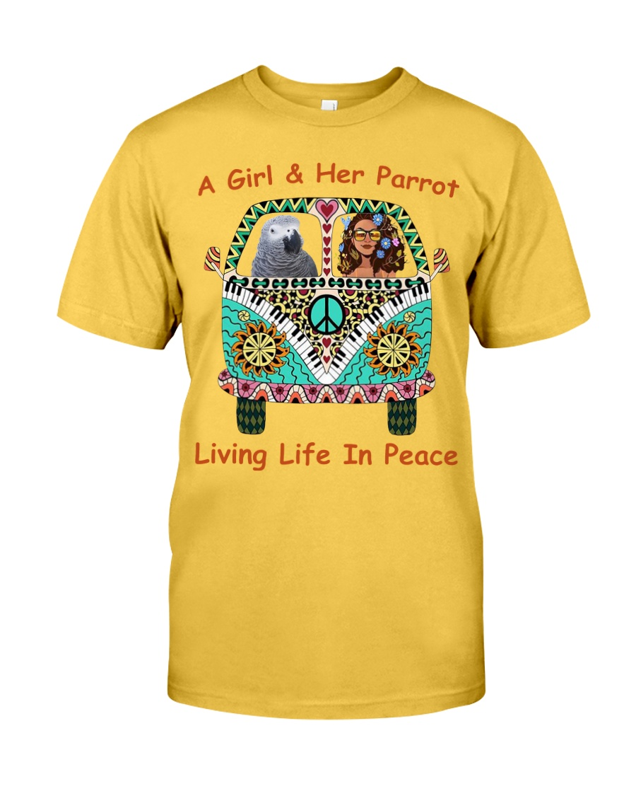 A Girl And Her African Grey Living Life In Peace  Classic T-Shirt