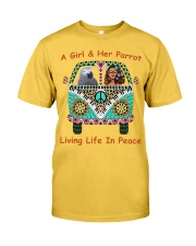 A Girl And Her African Grey Living Life In Peace  Classic T-Shirt front