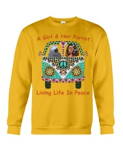 A Girl And Her African Grey Living Life In Peace  Crewneck Sweatshirt thumbnail