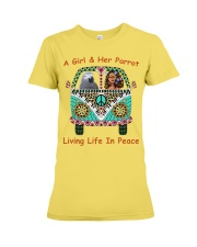 A Girl And Her African Grey Living Life In Peace  Premium Fit Ladies Tee thumbnail