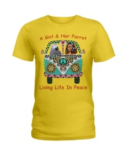 A Girl And Her African Grey Living Life In Peace  Ladies T-Shirt thumbnail