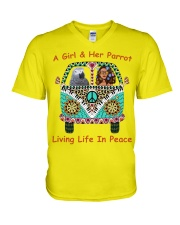 A Girl And Her African Grey Living Life In Peace  V-Neck T-Shirt thumbnail