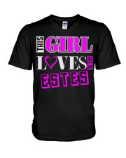 GIRL LOVES HER ESTES SHIRTS V-Neck T-Shirt thumbnail